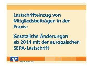 Präsentation S€PA (25,8 MB) - Volksbank Odenwald eG