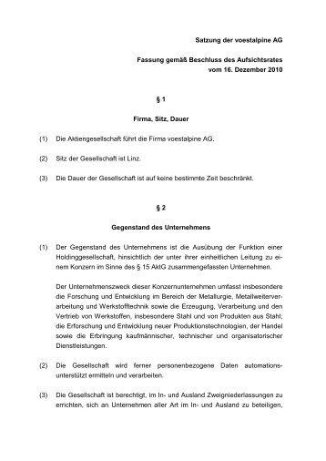 Satzung der voestalpine AG Fassung gemäß Beschluss des ...