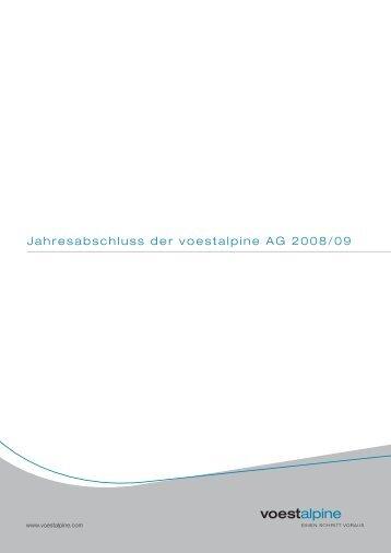 Jahresabschluss der voestalpine AG 2008/09