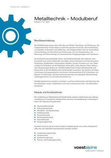 Lehrberuf - Metalltechnik Modulberuf - voestalpine