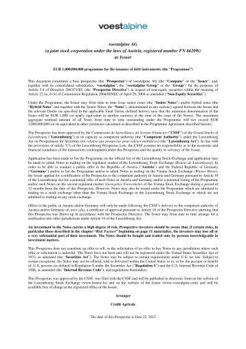 Prospekt Emssionsprogramm 2012 - voestalpine