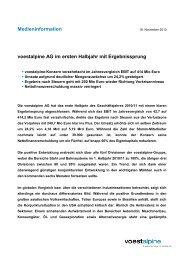 voestalpine AG im ersten Halbjahr mit Ergebnissprung