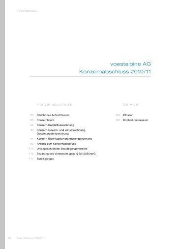 Konzernabschluss 2010/11 - voestalpine