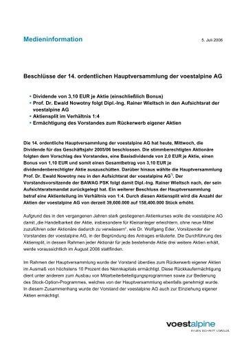 Medieninformation Hauptversammlung (27 KB) - voestalpine