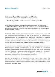 Medieninformation Stahl-Alu-Preis - voestalpine