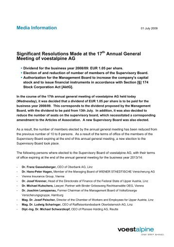 Media Information Significant Resolutions Made at the ... - voestalpine