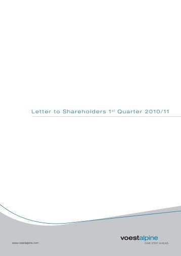 Letter to Shareholders 1st Quarter 2010/11 - voestalpine