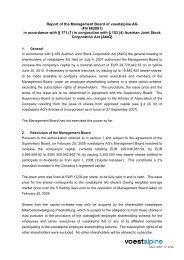 Bericht des Vorstandes - voestalpine