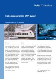 Risikomanagement im SAP®-System - Voith IT Solutions