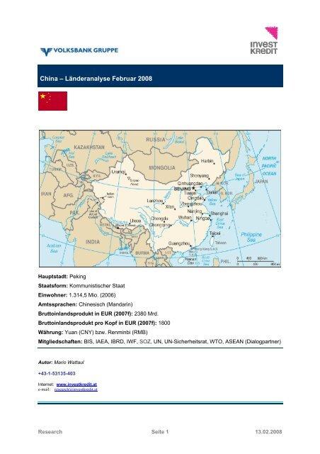 China – Länderanalyse Februar 2008 - Volksbank