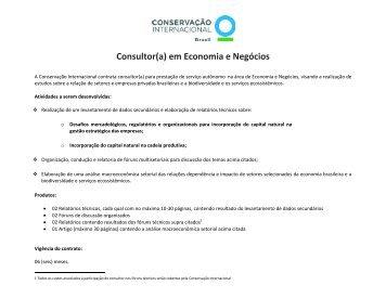 Consultor(a) em Economia e Negócios - Conservação Internacional