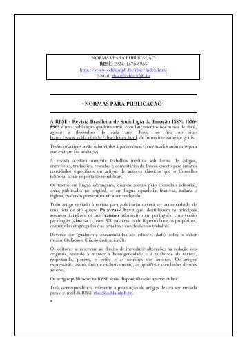 Normas para Publicação na RBSE - CCHLA