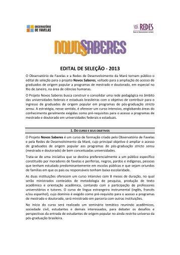 Novos Saberes - Edital 2013 - Observatório de Favelas
