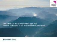 Jahresabschluss der Investkredit-Gruppe 2008 ... - Volksbank AG