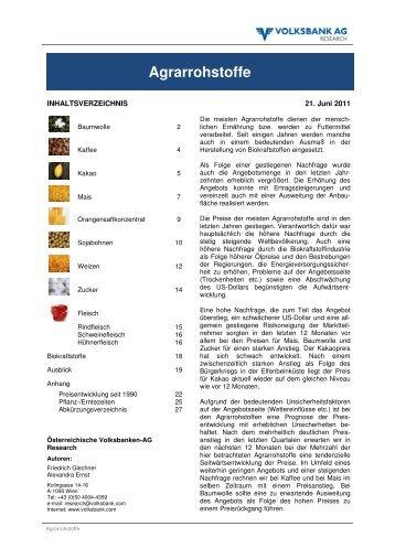 Agrarrohstoffe - Volksbank AG