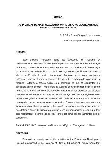artigo as práticas de manipulação do dna e - Secretaria de Estado ...