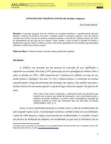 CONCEITO DE VIOLÊNCIA ESCOLAR: desafios e impasses ... - UFG
