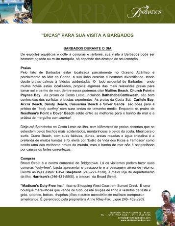 """""""DICAS"""" PARA SUA VISITA À BARBADOS - MMT GAPNET"""