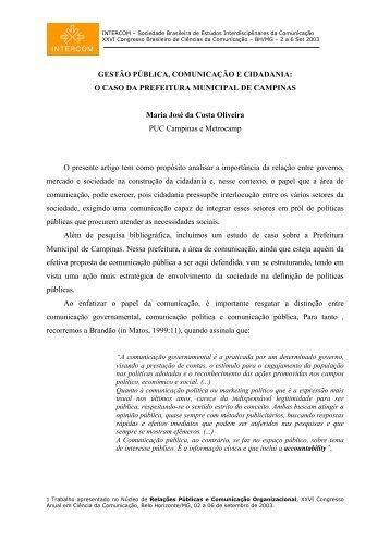 Gestão Pública, Comunicação e Cidadania - Portal de Relações ...