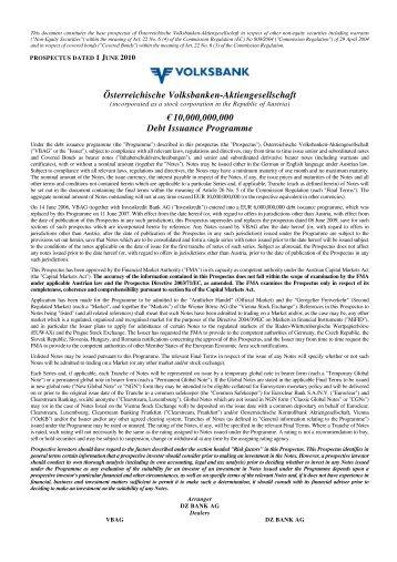 EUR 10.000.000.000 debt issuance programme, 1 ... - Volksbank AG