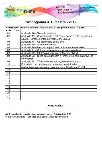 Cronograma 3º Bimestre - 2012