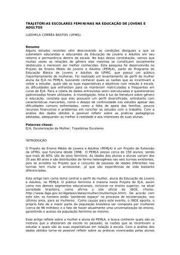 TRAJETÓRIAS ESCOLARES FEMININAS NA EDUCAÇÃO DE ...