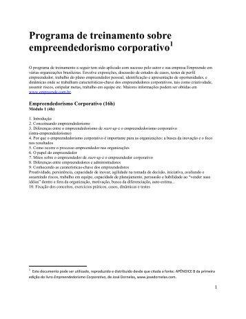 Programa de treinamento sobre empreendedorismo corporativo 1
