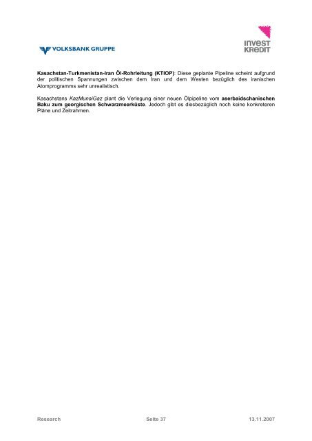 Kasachstan – Länderanalyse November 2007 - Volksbank AG