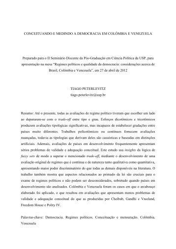 Conceituando e medindo a democracia em Colômbia e ... - fflch - USP
