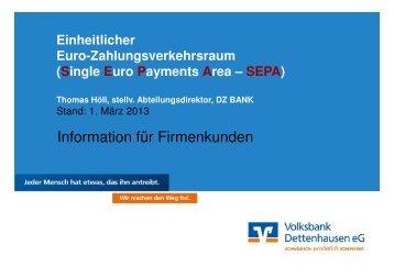 SEPA - Volksbank Dettenhausen eG