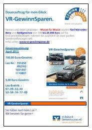 VR-GewinnSparen. - Volksbank Dettenhausen eG