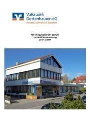 Offenlegungsbericht Stand 31.12.2011 - Volksbank Dettenhausen eG