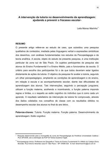 A intervenção da tutoria no desenvolvimento da ... - PePSIC