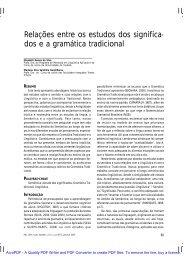 Relações entre os estudos dos significa- dos e a gramática ... - Unitau