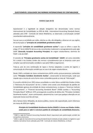 questionável legalidade das normas internacionais de contabilidade