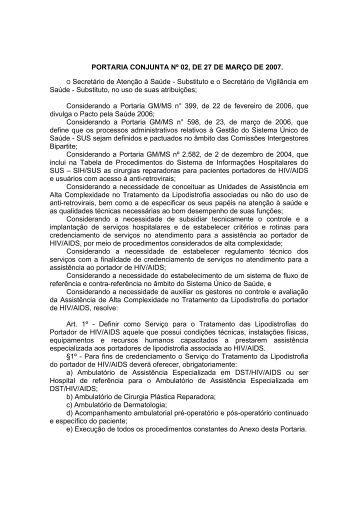 Portaria Conjunta SE/SAS/MS nº 2 de - Secretaria de Estado de ...