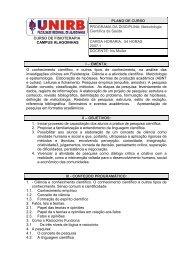PLANO DE AULA DE FISIOTERAPIA DE ALAGOINHAS - unirb