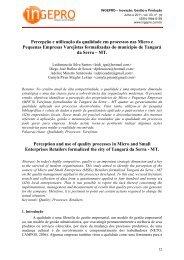 Percepção e utilização da qualidade em ... - Revista INGEPRO