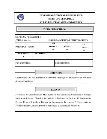 Física Geral I - Instituto de Química - Universidade Federal de ...