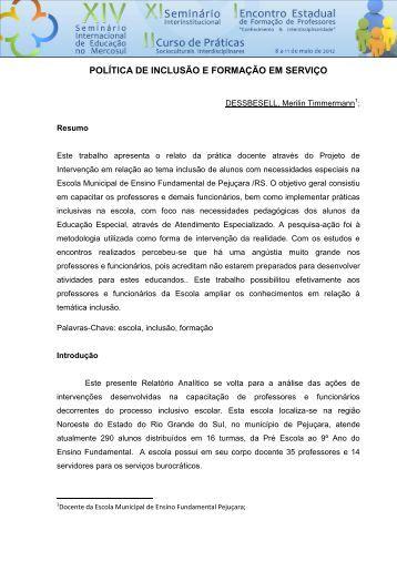 POLÍTICA DE INCLUSÃO E FORMAÇÃO EM SERVIÇO - Unicruz