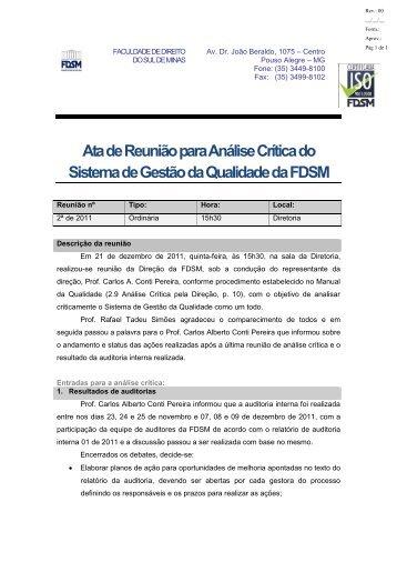 Análise Crítica 2ª de 2011 - FDSM