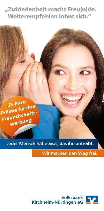 Prospekt mit Empfehlungskarte - Volksbank Kirchheim-Nürtingen eG