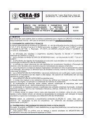 cear ementa: fixa critérios e parâmetros para registro ... - Crea-ES