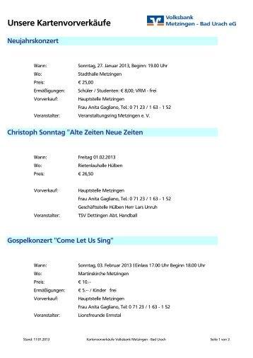 Unsere Kartenvorverkäufe - Volksbank Metzingen - Bad Urach eG