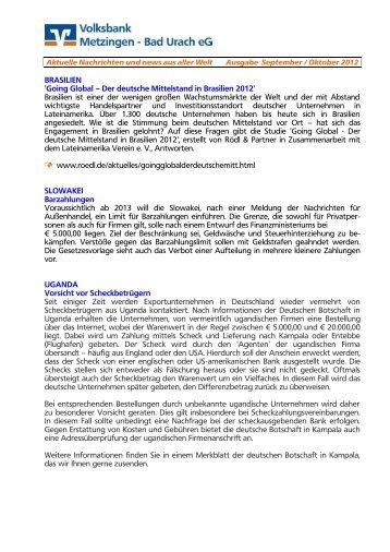 Ausgabe September / Oktober 2012 - Volksbank Metzingen - Bad ...