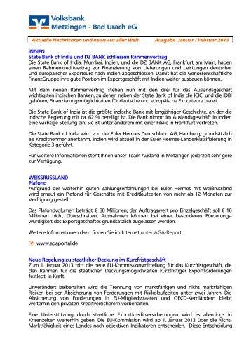 Ausgabe Januar / Februar 2013 - Volksbank Metzingen - Bad Urach ...