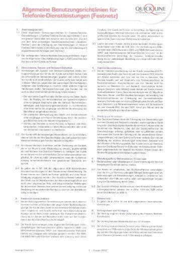 AGB QuickLine Telefonie - Valaiscom