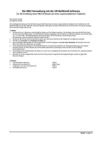 Die HBCI-Verwaltung mit der VR-NetWorld-Software 3 - Volksbank ...