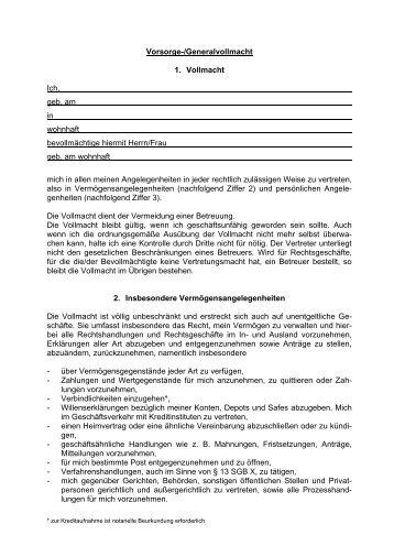 Formular Vorsorgevollmacht - Volksbank Ochtrup eG