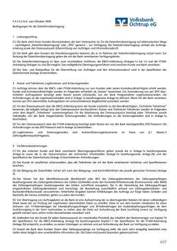 (1) Die Bank steht ihrem Kunden - Volksbank Ochtrup eG